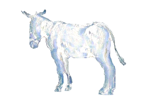 image of a silvered donkey in full light