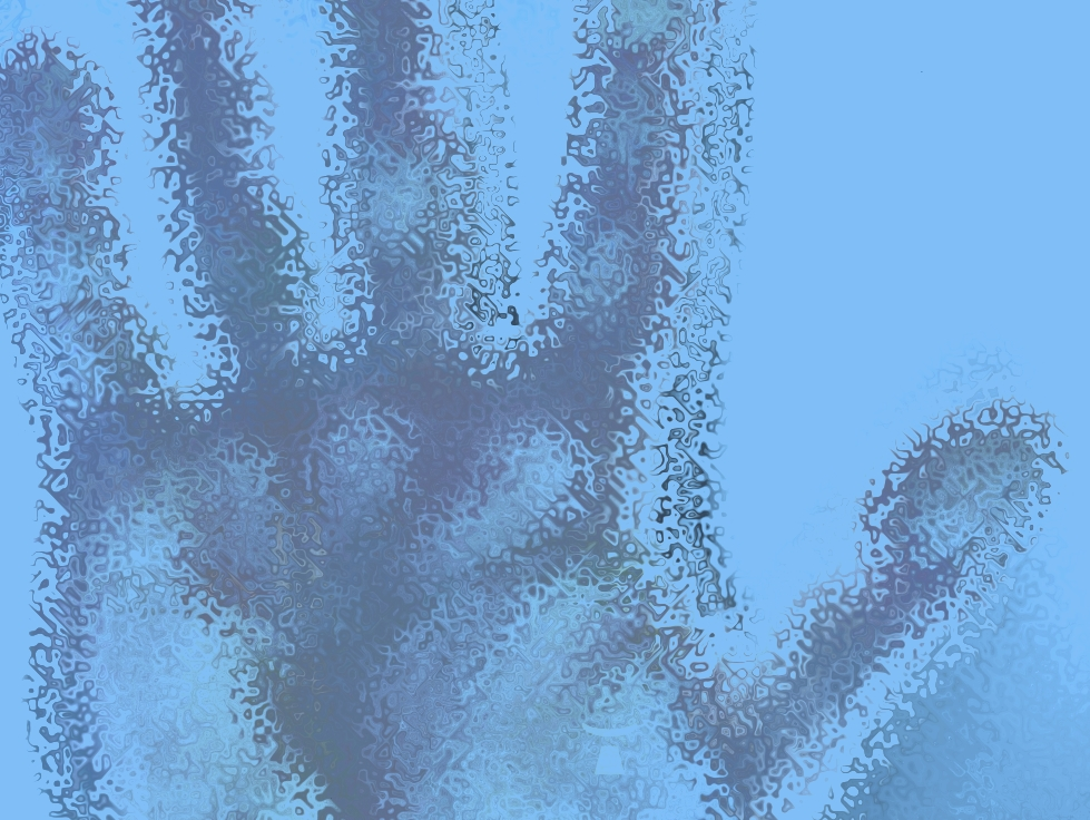 blue image of dented open hand