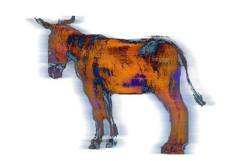 image d'un âne vibrant de couleur cuivré