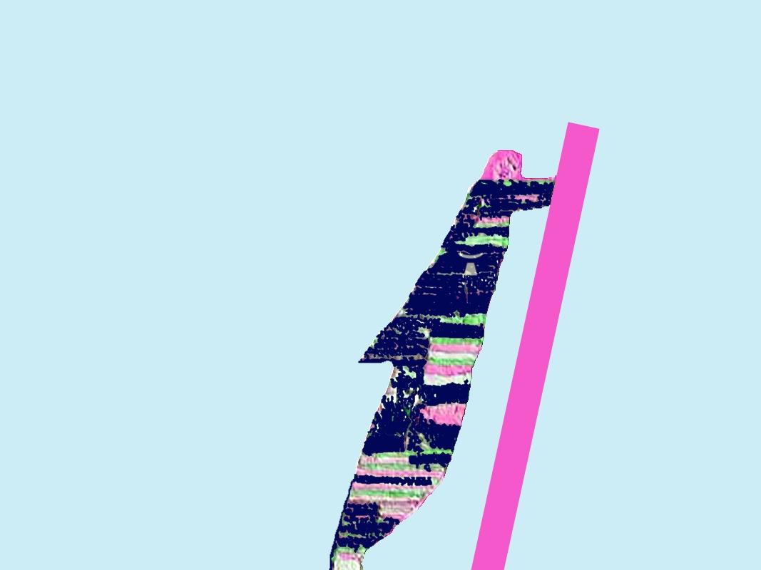image de l'homme qui pousse un mur sur un fond couleur azuré - logo de Jean Toba inclus