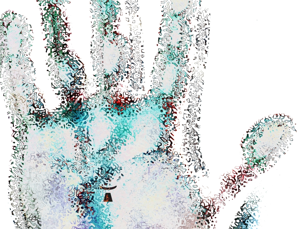 image fantastique d'une main ouverte recolorée et cabossée
