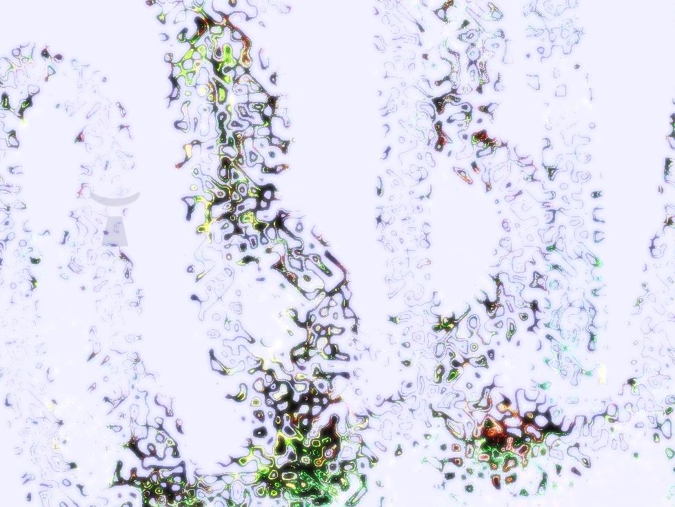 image d'une fusion bleutée de masques et de regards fantastiques enchevêtrés